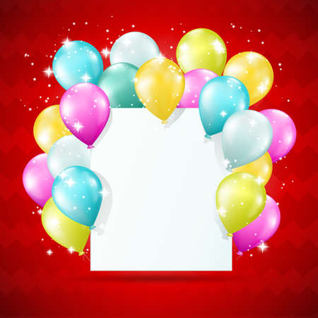 birthday decoration: blank white card with balloons and sparkles on red background