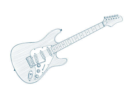 accords: electric guitar drawing on white. vector illustration