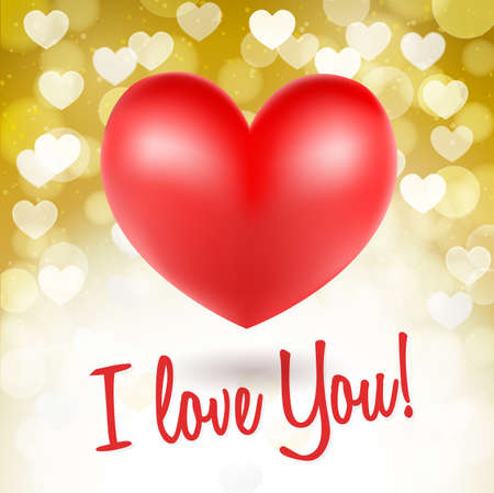 golden symbols: red heart symbols on glittering golden background and i love you words. vector