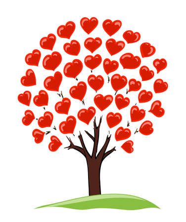 tree leaves: abstract drawing of tree with hearts as leaves Illustration