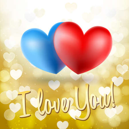 golden symbols: blue and red heart symbols on glittering golden background and i love you words. vector