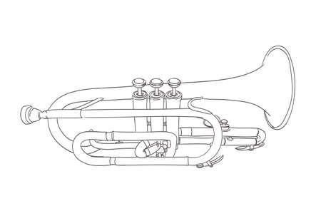 wind instrument: cornet wind musical instrument drawing on white