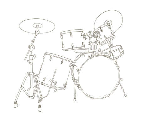 drums: drum set drawing on white. vector