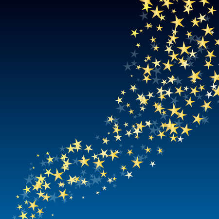 blue star background: golden star flowing over dark blue night background