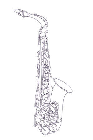 jazzy: alto saxophone drawing on white. vector