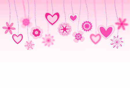 hanging flowers: hanging flowers and heart shapes background. retro love greeting