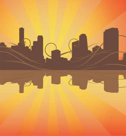 urban background: urban silhouette background. vector Illustration