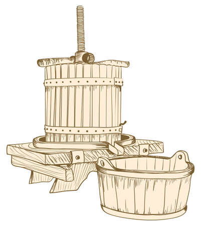 alte Weinpresse Illustration. Vektor