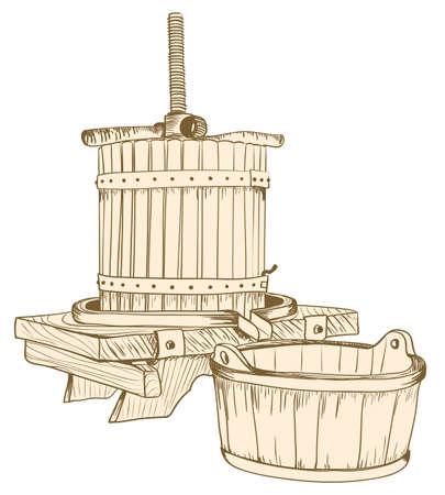 detritus: old wine press illustration. vector