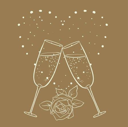 tomando vino: champán y se levantó con la línea del corazón dibujo del arte en marrón. vector