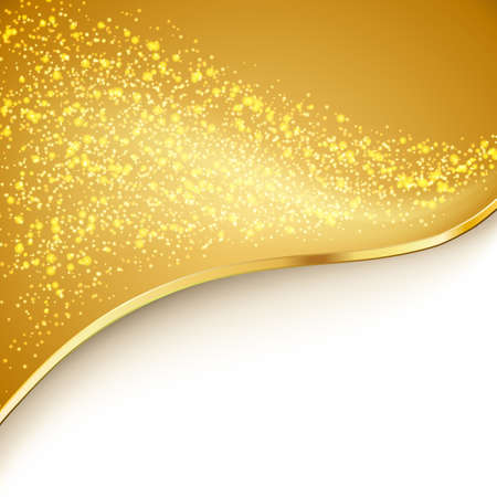gold stars: particles flowing over golden wavy background. vector Illustration