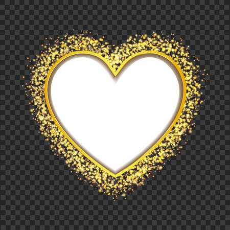 edge: white heart frame with glittering golden transparent particles. vector Illustration