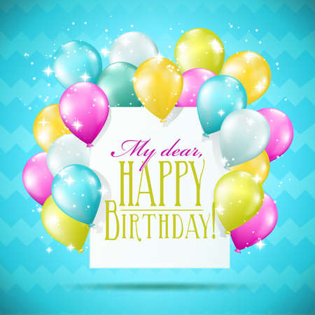 blue card: happy birthday card with balloons and sparkles on blue background