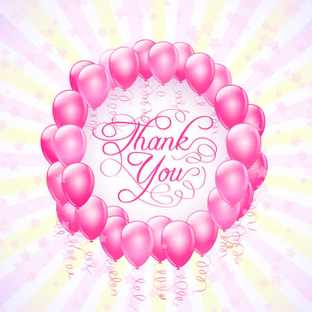 compliment: frame with balloons and stars thank you background. vector Illustration
