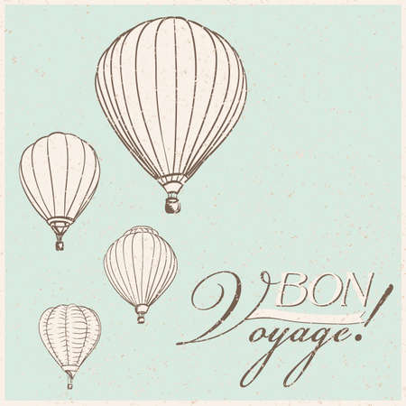 voyage: vintage hot air balloons bon voyage background. vector Illustration