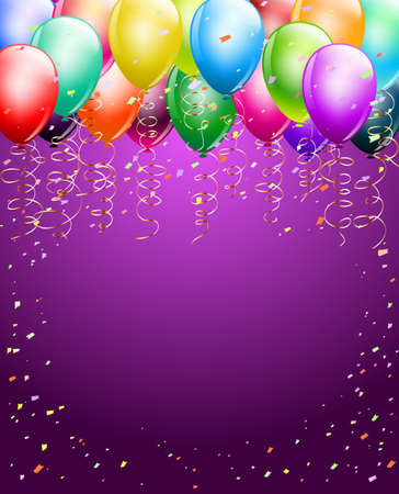 festive colorful balloons as top border with confetti background. space for text. vertical background Иллюстрация