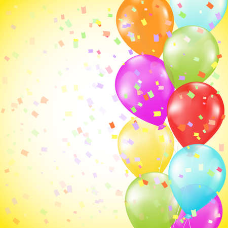 background with bright colorful balloons as a border and confetti on yellow background