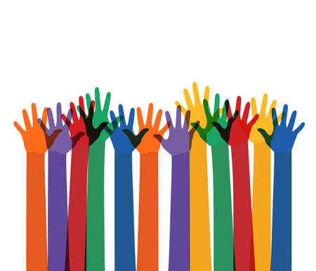 abstract illustration with raising multi color hands.