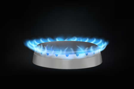 gas burner: kitchen gas burner on black. realistic vector illustration
