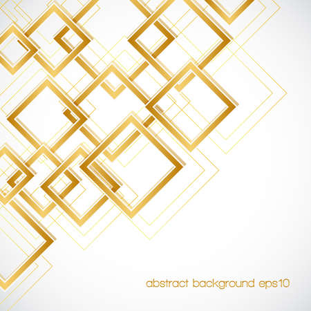 golden background: abstract background with golden rhombus frames and lines. Illustration