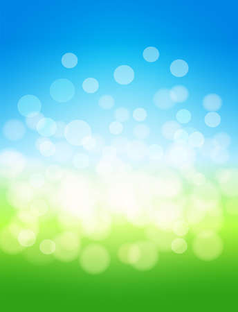 field and sky: sky and green field abstract illustration background with lights effects. Illustration