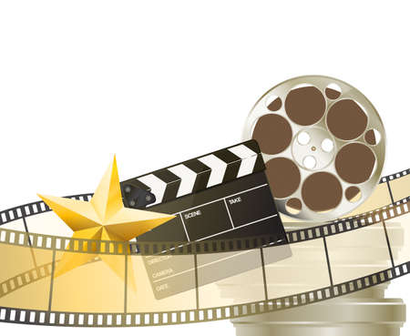 blockbuster: cinema background with retro filmstrip, clapper and star isolated on white Illustration