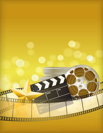 gold record: cinema golden background with retro filmstrip, clapper and star Illustration