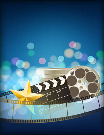 film star: cinema blue background with retro filmstrip, clapper and star. vertical abstract background