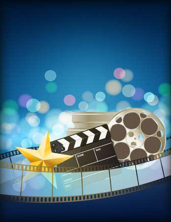 cinta pelicula: fondo azul con cinta de película de cine retro, badajo y la estrella. vertical resumen de antecedentes