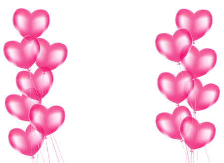 pink heart balloons background. Vetores