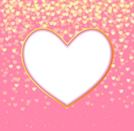 fotograma de fondo abstracto del corazón y los corazones que caen en el fondo de color rosa.
