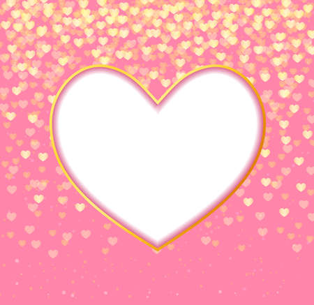 pink vintage: abstract background heart frame and falling hearts on pink background.