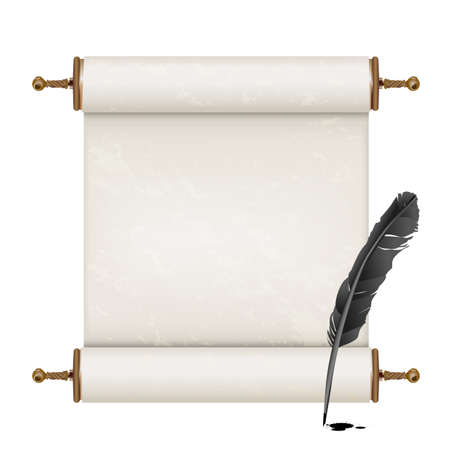 roll paper: black feather and ancient scroll on white