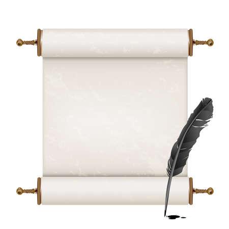 schriftrolle: schwarze Feder und alte Schriftrolle auf weiß