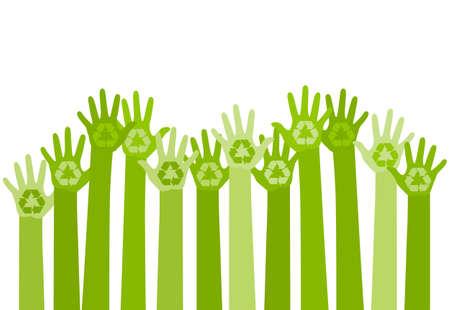 リサイクル マークと手を上げると抽象的なイラスト。エコ フレンドリーなデザイン テンプレートです。環境概念のケア