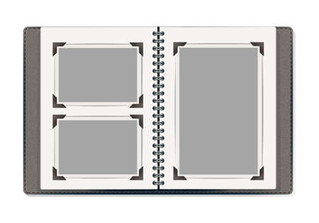 photo album: photo album pages with retro photo frames. vector design template