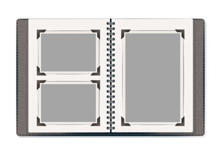 antique books: photo album pages with retro photo frames. vector design template