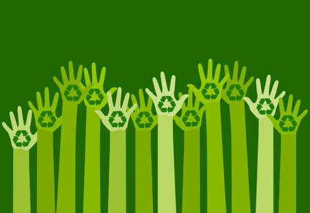 recycle: raising hands with a recycle symbol. eco friendly design template. care of environment concept. Illustration