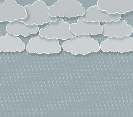 rainy sky: abstract rainy sky with cartoon clouds with shadows.