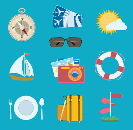 sunglasses recreation: vector set of travel icons. flat compass, airplane tickets, sun with cloud, camera, sailing boat