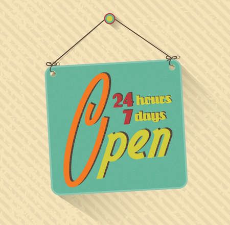 store sign: retro open sign. 24 hours 7 days in a week. grunge abstract background. vector