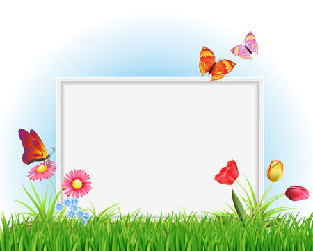 empty white frame with grass, spring flowers, butterflies on blue sky background. vector design template