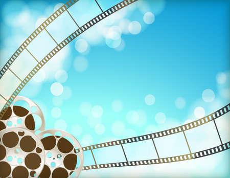 cinema blue background with retro filmstrip, film reel. vintage movie abstract horizontal background.