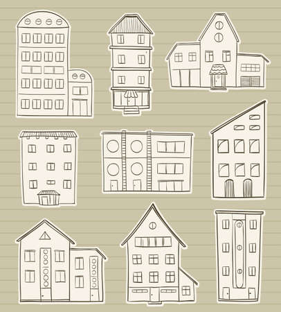 construction paper art: set of houses doodle sketches on paper background. home hand drawing vector. old town symbols