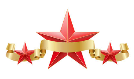 decorative design: red star with golden ribbon composition. Illustration