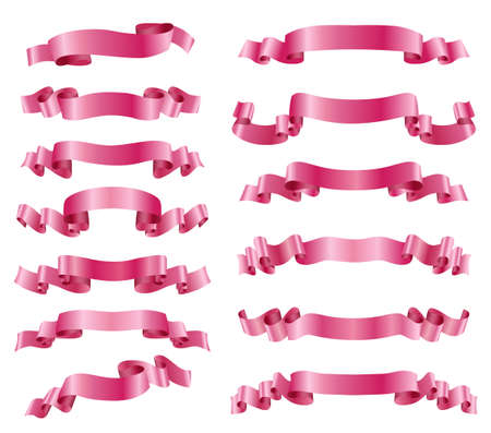 pink ribbons: set of pink ribbons on white. vector design elements
