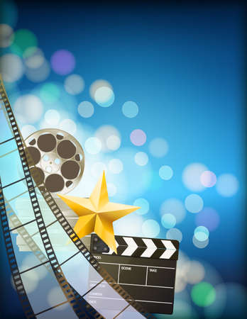 35mm film motion picture camera: filmstrip background with clapper,reel,golden star and light effects on blue vertical background. Illustration