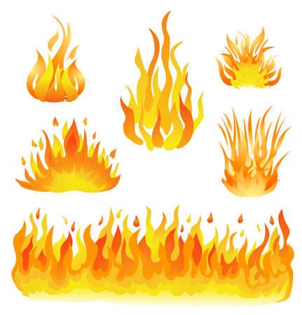 llamas de fuego: fuego y llamas establece la ilustración vectorial. elementos de diseño en blanco