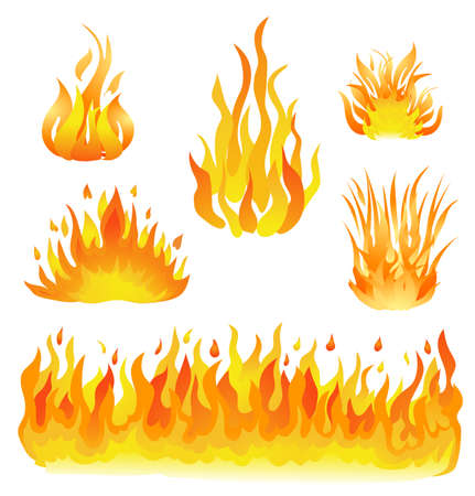 fire and flames set vector illustration. design elements on white