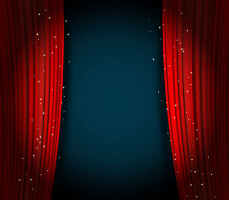 red curtains background wuth glittering stars. open curtains as theater or movie presentation background or cinema award announcement with space for text. vector template for Your design Ilustrace